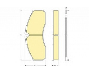 Передние тормозные колодки 6116109 Girling вкл. датчик износа
