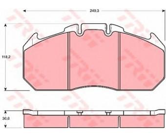 Передние тормозные колодки gdb5086 TRW подготовлено для датчика износа колодок