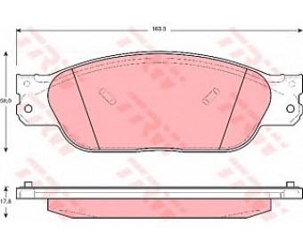 Передние колодки gdb1401 TRW не подготовленно для датчика износа